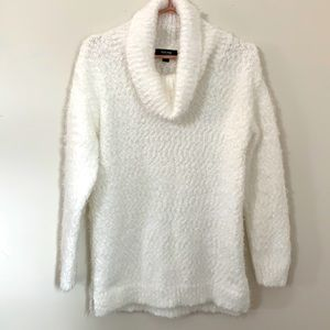 KENNETH COLE WHITE KNITTED COWL NECK SWEATER SMALL